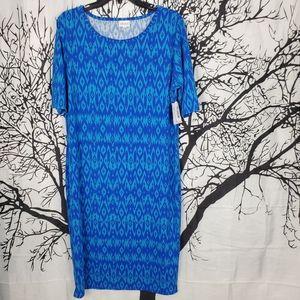 LuLaRoe Julia Dress Blue Chevron Print 2XL